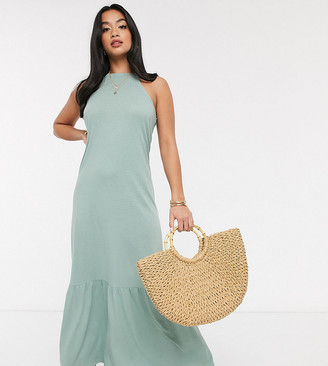 ASOS DESIGN Petite square neck halter maxi dress with pep hem in sage