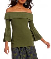 M.S.S.P. Off The Shoulder Bell Sleeve Sweater