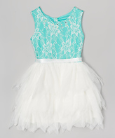 Beautees Turquoise & White Floral Tulle Skirt Dress - Girls