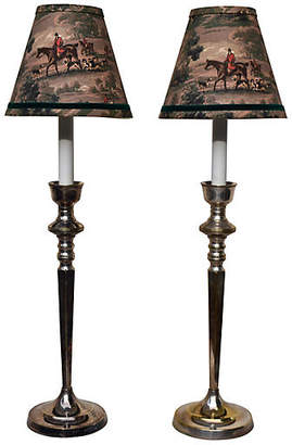 One Kings Lane Vintage Equestrian Silver Candlestick Lamps - Set of 2 - Cannery Row Home - base, silver/gold; shade, brown/multi