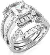 Metal Factory Sz 8 Sterling Silver 3Pcs 925 CZ Cubic Zirconia Engagement Wedding Band Ring Set