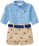 Ralph Lauren Plaid Poplin Shirt w/ Chino Sailboat Shorts, Blue/Navy, Size 6-24 Months