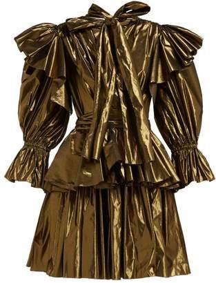 Dolce & Gabbana Ruffled Lame Mini Dress - Womens - Bronze