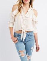 Charlotte Russe Satin Cold Shoulder Button-Up Blouse