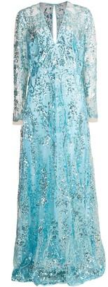 Naeem Khan Aqua Long Sleeve Paillette Embroidered Gown