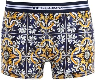 Dolce & Gabbana Maiolica Print Cotton Boxer Briefs