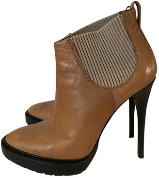 Burberry Camel Leather Ankle boots