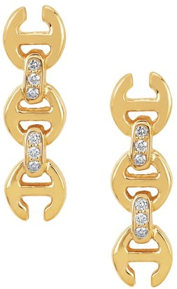 Hoorsenbuhs Tri-Link 18K Yellow Gold & Diamond Stud Earrings