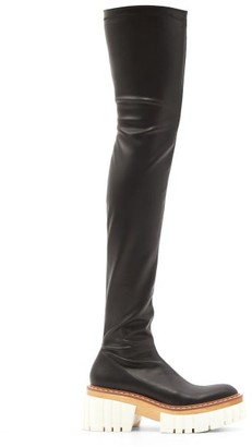Stella McCartney Emilie Faux-leather Platform Over-the-knee Boots - Black White