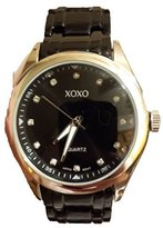 XOXO XO160 WATCH NEW Women's BLACK Link Band BLACK DIAL Bezel Watch