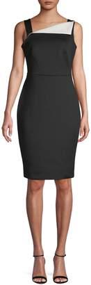 Calvin Klein Fold-Over Neck Sleeveless Sheath Dress