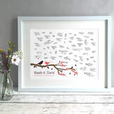 Bird & Key Personalised Birds Wedding Guest Book Print