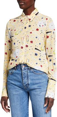 Victoria Victoria Beckham Music-Print Button-Front Shirt