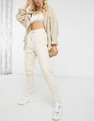 Miss Selfridge elastic cuff jogger in cream