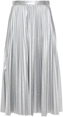 Tibi Pleated Lame Midi Skirt