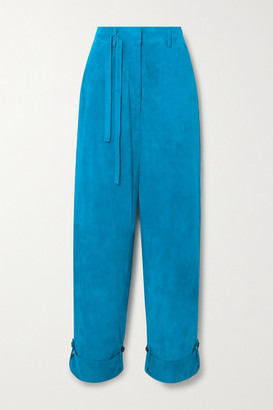 Tom Ford Cropped Suede Straight-leg Pants - Blue