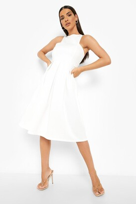 boohoo Scuba Cutaway Neckline Midi Bridesmaid Dress
