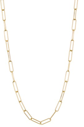 ADORNIA 14K Gold Plated Sterling Silver Paper Clip Necklace