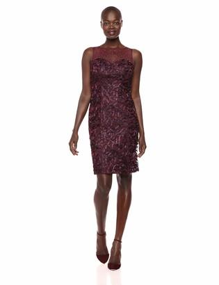 Ignite Women's Sequined Illusion Sutach Short Evening Dress