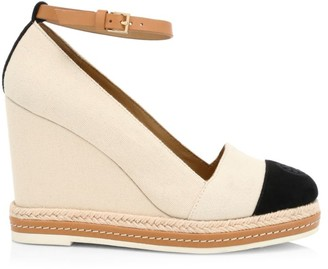 Tory Burch Cap-Toe Leather-Trimmed Espadrille Wedges