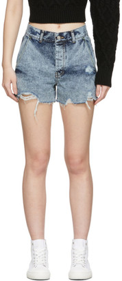 Sjyp Blue Denim Color Stitched Shorts