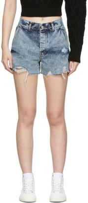 Sjyp Blue Denim Color Stitched Shorts