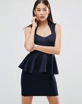 AX Paris Plunge Front Peplum Mini Dress
