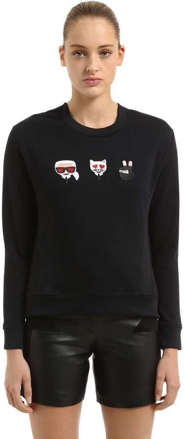 Karl Lagerfeld Emoji Patches Cotton Sweatshirt