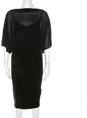 Blumarine Black Stretch Knit and Chiffon Butterfly Sleeve Dress M