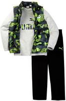 Puma Long Sleeve Tee, Printed Puffer Vest, & Pant Set (Little Boys)
