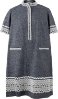 Oscar de la Renta Mandarin Collar Shirt Dress
