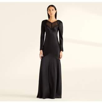 Amanda Wakeley Black Cbs Lace Full Sleeve Long Dress