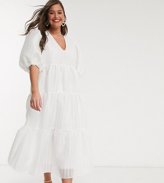 ASOS EDITION Curve tiered midi smock dress in textured stripe
