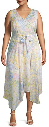 Calvin Klein Plus Floral Handkerchief Dress
