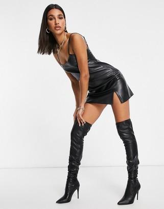 ASOS DESIGN leather look slip mini dress in black