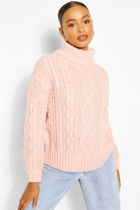 boohoo Roll Neck Cable Knit Jumper