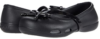 Crocs Lina Bow Charm Flat (Toddler/Little Kid) (Black) Girl's Shoes