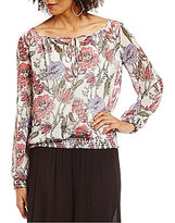I.N. Studio Botanical Floral Print Long Sleeve Top
