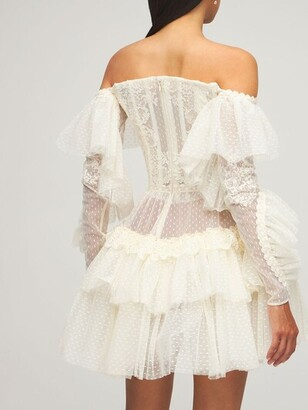 ZUHAIR MURAD Lace & Tulle Off-The-Shoulder Mini Dress