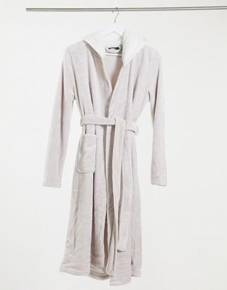 ASOS DESIGN super soft hooded midi robe in grey