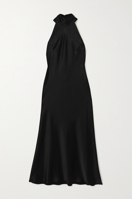 Galvan Sienna Satin Halterneck Midi Dress - Black