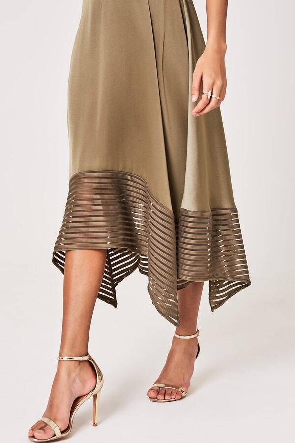 Thumbnail for your product : Little Mistress Laurie Khaki Satin Midaxi Dress