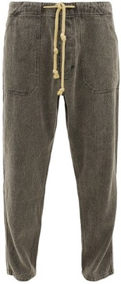 Nanushka Nova Drawstring Linen-denim Trousers - Mens - Black