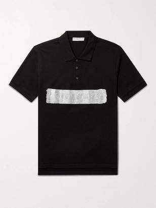 Givenchy Metallic Logo-Embossed Cotton-Pique Polo Shirt