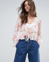 PrettyLittleThing Floral Print Plunge Blouse