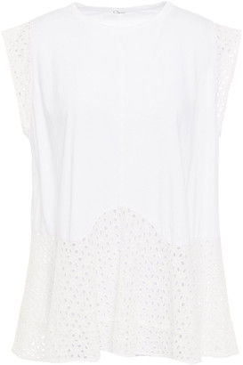 Clu Broderie Anglaise-paneled Cotton-jersey Top