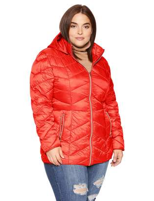 Celsius Women's Plus-Size Lightweight Quilted Wellon Jacket with Removable Hood Outerwear