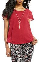 I.N. San Francisco Flutter Sleeve Necklace Top