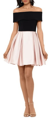 Betsy & Adam Off the Shoulder Velvet & Satin Party Dress