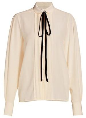Victoria Beckham Pintuck Tieneck Silk Shirt